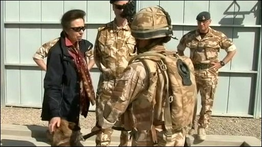 Princess Anne meets soldiers in Afghanistan
