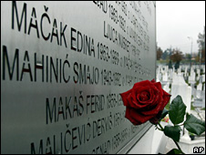 A rose is seen at the memorial to the victims of the Sarajevo siege (file)