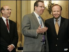 Joel Glazer, left, Bryan Glazer, centre, and Malcolm Glazer, right
