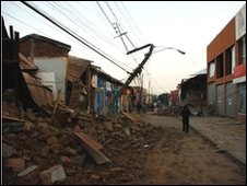 Quake damage on the streets of Talca (Picture: Luis Felipe Ramirez Rojas)