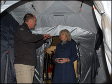 Duchess of Cornwall in ShelterBox tent