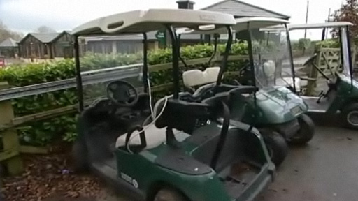 The golf buggies at the Vale hotel resort