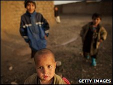 Afghan children at a refugee camp