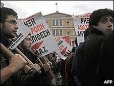 Demonstration by striking workers in Athens, 10 Feb 10