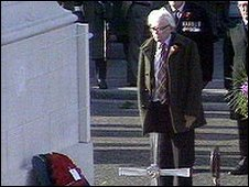 Michael Foot at the Cenotaph