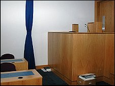 Witness box in Belfast Magistrates Court