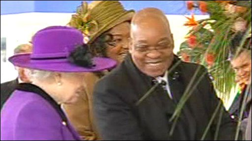 The Queen greets Jacob Zuma