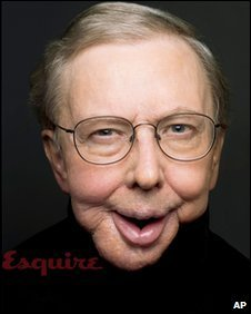 film critic Roger Ebert is shown in the March 2010 issue of Esquire magazine, available on newsstands nationwide on Feb. 16. (AP Photo/Ethan Hill, Courtesy of Esquire)