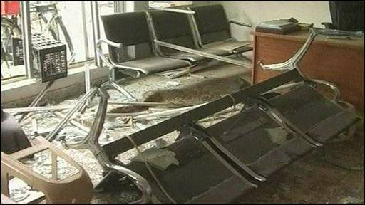 An office in ruins after the triple suicide attack on the Iraqi city of Baquba