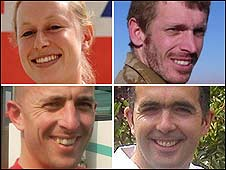 (Clockwise from top left) Cpl Sarah Bryant, Cpl Sean Robert Reeve, L/Cpl Richard Larkin, Private Paul Stout