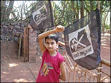 Boy with anti-nuclear plant flags