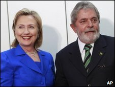 US Secretary of State Hillary Clinton (L) and Brazilian President Luiz Inacio Lula da Silva in Brasilia, Brazil - 3 March 2010
