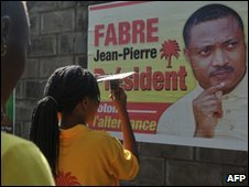 Campaign poster of opposition leader Jean-Pierre Fabre in Lome