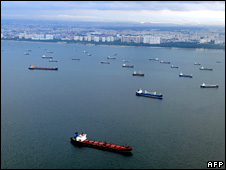 Ships pass through the Malacca Strait off Singapore (2008)