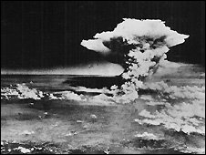 Mushroom cloud from atomic bomb dropped on Hiroshima