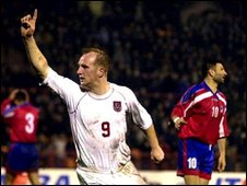 John Hartson scoring against Armenia