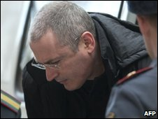 Mikhail Khodorkovsky arrives at a court in Moscow