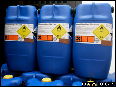 Barrels of hydrogen peroxide stored by suspects that were seized by police (September 2007)