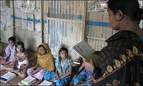 Class in Bangladesh slum