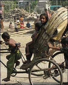 Children outside a Dhaka slum