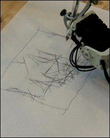 Robot arm artist, BBC