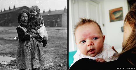 A girl with baby in the 1920s, and now