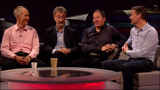 Jonathan Legard, Eddie Jordan, Martin Brundle and David Coulthard