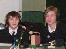 Students from Winterbourne Academy in Bristol at the BBC radio studio