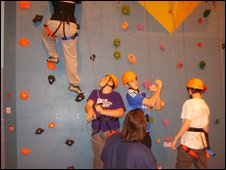 Climbing wall at Cricklade Leisure Centre