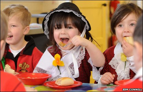 Children of Llanelli's Dafen CP School enjoyed a bowl of traditional Welsh Cawl on St David's Day