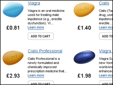 Screen grab from online pharmacy, BBC