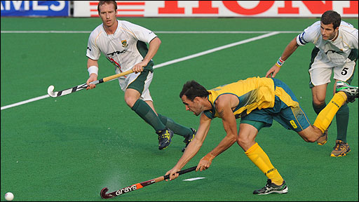 Mark Knowles in action for Australia against South Africa