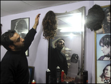 A Gaza hair salon
