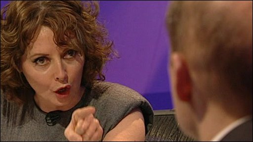 Carol Vorderman pointing a finger at Lord Adonis
