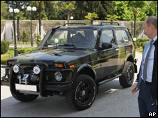 Prime Minister Vladimir Putin and his Lada Niva