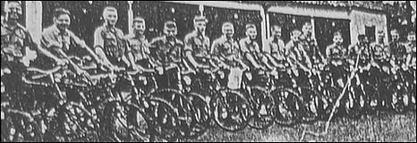 Photograph of Hitler Youth cyclists from the Boston and Spalding Free Press, August 3 1937