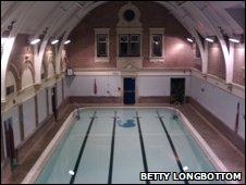 The inside of Westbury Pool