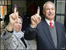 Two Iraqi voters in Jordan