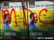 Posters for President Robert Mugabe are covered with graffiti for the opposition Movement for Democratic Change June 27, 2008 in Harare, Zimbabwe