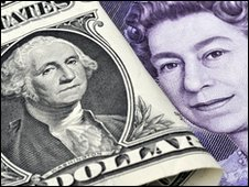 Dollar bill and £20 note