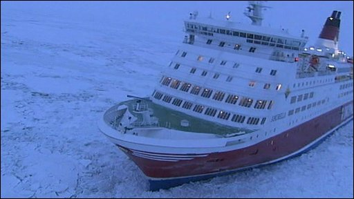 A ship stranded in the Baltic Ice