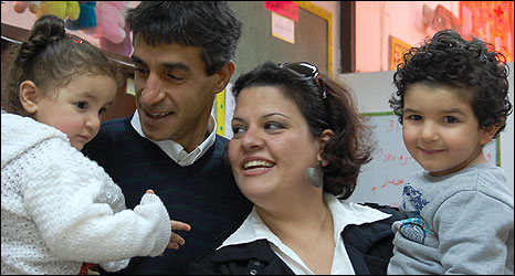 Taiseer and Lana Khatib with their children, Yosra (1) and Adnan (3)