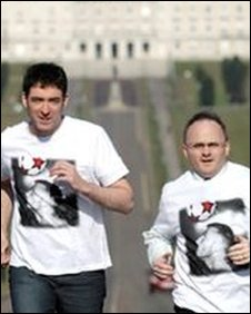 Jim Fitzpatrick and Sinn Fein MLA Barry McElduff get in some jogging practice