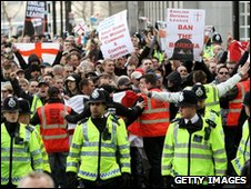 Members of the English Defence League stage a demonstration in support of Geert Wilders