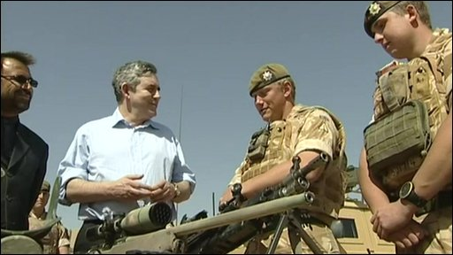 Brown with UK troops