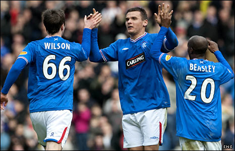 Rangers players Danny Wilson, Lee McCulloch and DaMarcus Beasley