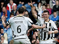 St Mirren defenders John Potter and Graham Carey