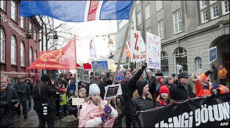 Protesters in the Iceland capital Reykjavik