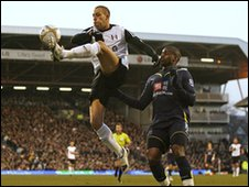 Bobby Zamora of Fulham and Tottenham's Sebastien Bassong