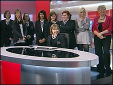 Students from Bungay High School with Look East's Carol Bundock